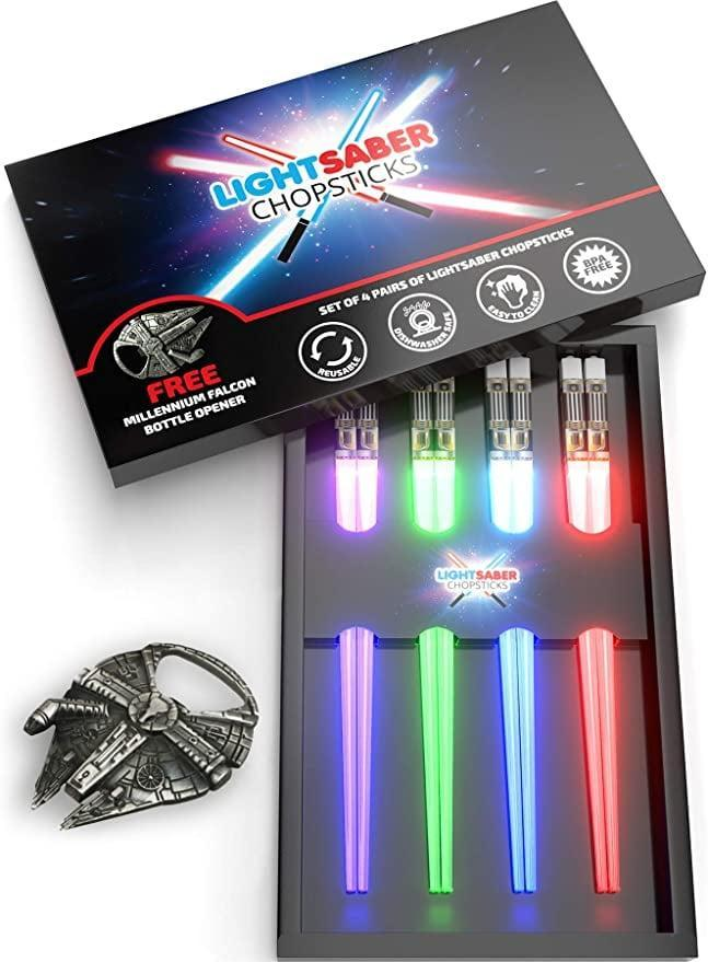 <p>How cool are these <span>Lightsaber Chopsticks</span> ($33)?</p>