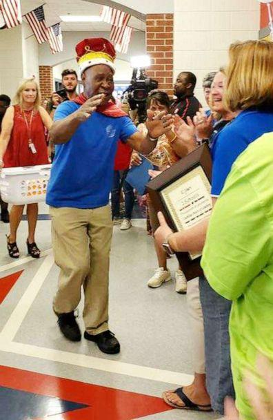 PHOTO: John Lockett, 83, a janitor at Sand Hill Elementary School in Carrollton, GA, received a surprise retirement party from students on May 17, 2019. (Sand Hill Elementary School )