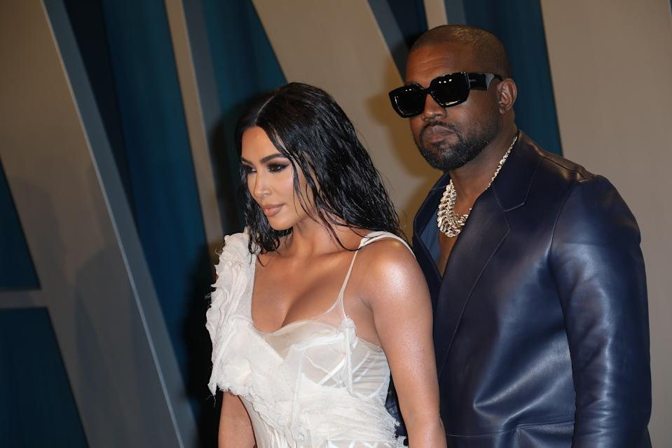 BEVERLY HILLS, CALIFORNIA - FEBRUARY 09: Kim Kardashian and Kanye West attend the 2020 Vanity Fair Oscar Party at Wallis Annenberg Center for the Performing Arts on February 09, 2020 in Beverly Hills, California. (Photo by Toni Anne Barson/WireImage)