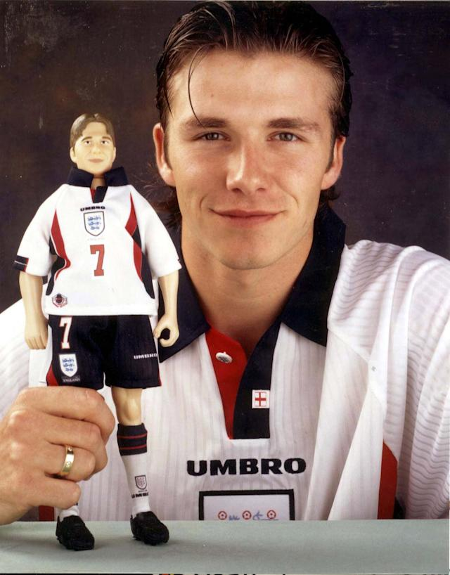 File photo dated 16/10/1997 of Manchester United and England mid-fielder David Beckham, unveils his action figure.