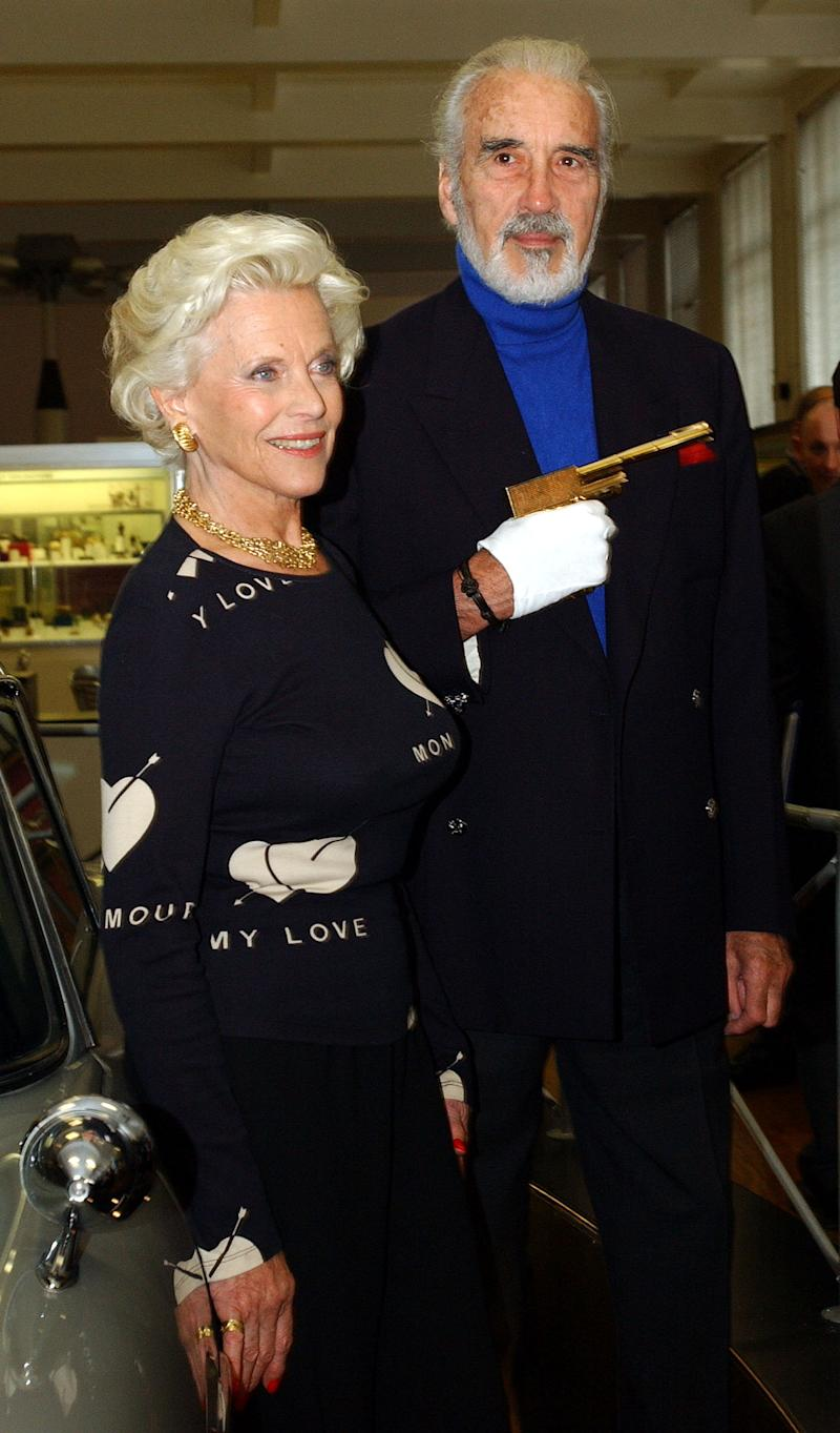 File photo dated 15/10/02 of Honor Blackman, who played Pussy Galore in Goldfinger with Christopher Lee who played Scaramanga in The Man with the Golden Gun, during the press viewing of the 'Bond, James Bond' exhibition at the Science Museum in London. Former Bond girl Honor Blackman, best-known for playing Bond girl Pussy Galore, who has died aged 94, her family said.
