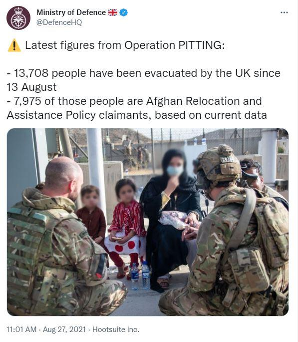 The Ministry of Defence has been posting updates on the evacuation efforts on Twitter (Yahoo News UK)