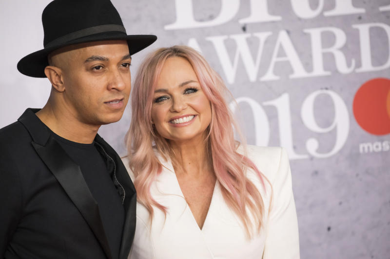 Jade Jones and Emma Bunton pose for photographers upon arrival at the Brit Awards 2019 in London, Wednesday, Feb. 20, 2019. (Photo by Vianney Le Caer/Invision/AP)