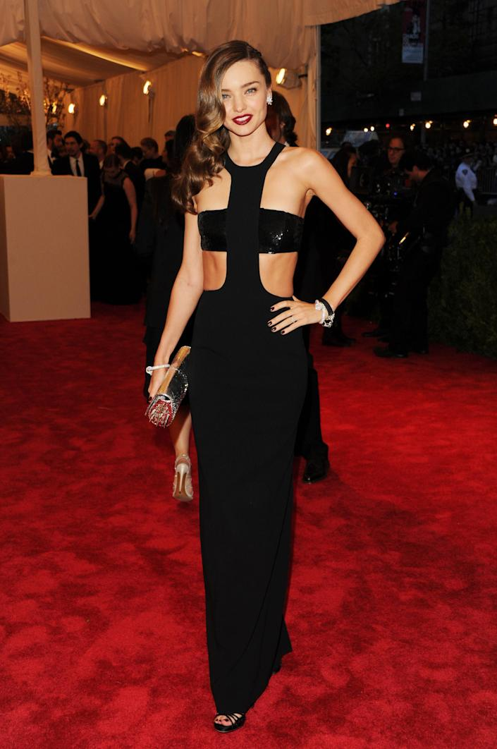 """Miranda Kerr attends The Metropolitan Museum of Art's Costume Institute benefit celebrating """"PUNK: Chaos to Couture"""" on Monday, May 6, 2013 in New York. (Photo by Evan Agostini/Invision/AP)"""