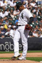 Chicago White Sox starting pitcher Reynaldo Lopez looks down as he kicks the mound during the fourth inning of a baseball game against the Los Angeles Angels in Chicago, Thursday, Sept. 16, 2021. (AP Photo/Nam Y. Huh)