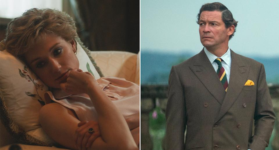 Dominic West and Elizabeth Debicki appear in Netflix's The Crown, playing Prince Charles Princess Diana.