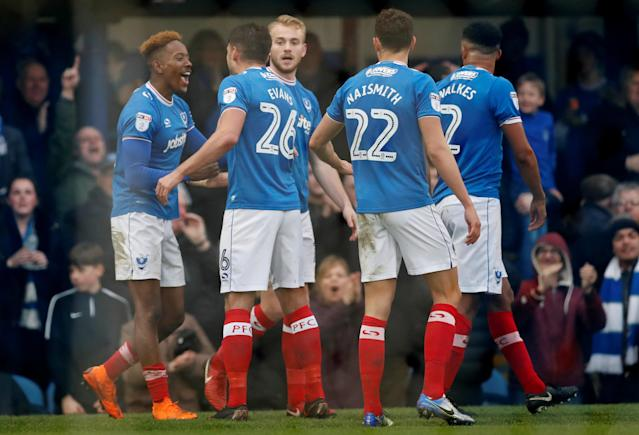 """Soccer Football - League One - Portsmouth vs Wigan Athletic - Fratton Park, Portsmouth, Britain - April 2, 2018 Portsmouth's Jamal Lowe celebrates scoring their second goal Action Images/Matthew Childs EDITORIAL USE ONLY. No use with unauthorized audio, video, data, fixture lists, club/league logos or """"live"""" services. Online in-match use limited to 75 images, no video emulation. No use in betting, games or single club/league/player publications. Please contact your account representative for further details."""
