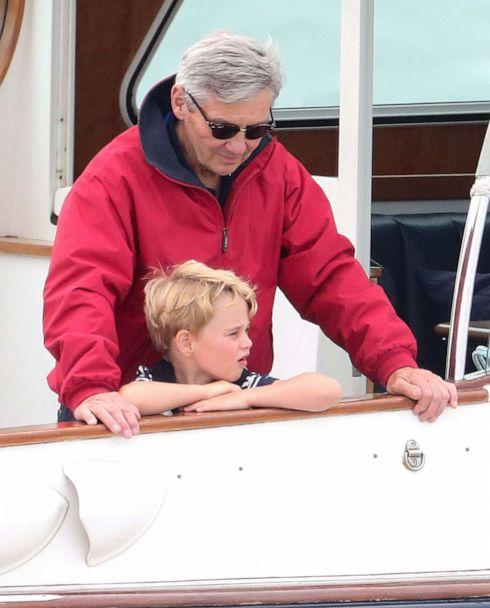 PHOTO: Michael Middleton and Prince George watch the inaugural Kings Cup regatta hosted by the Duke and Duchess of Cambridge on August 08, 2019 in Cowes, England. (Chris Jackson/Getty Images)