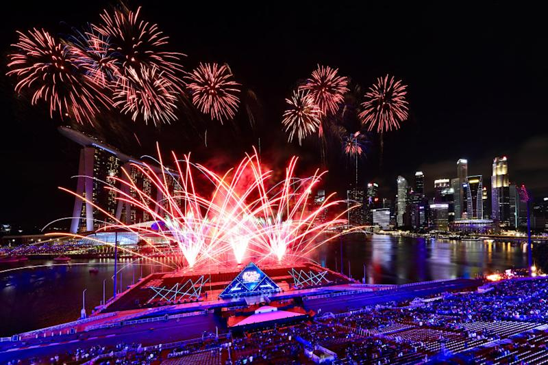Singapore awaits 2020 with curtain-raiser fireworks by Star Island as revellers join in the biggest countdown celebration at Marina Bay on December 31, 2019 in Singapore. | Suhaimi Abdullah—Getty Images