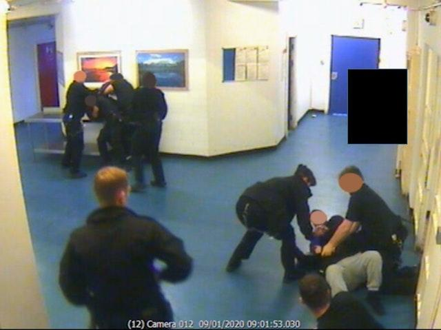 CCTV of the aftermath of the attack by Brusthom Ziamani and Baz Hockton on prison Guard Neil Trundle