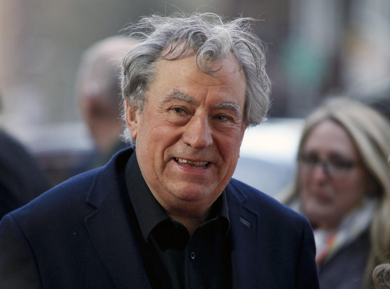 "FILE - This April 24, 2015 file photo shows Terry Jones at a special Tribeca Film Festival screening of ""Monty Python and the Holy Grail"" in New York. Celebrations for the 40th anniversary of the Monty Python comedy classic ""Life of Brian"" are being somewhat overshadowed by the health news of Jones. Jones is ""very robust"" although ""on the downhill slope"" due to dementia, according to his friend and colleague Michael Palin. Jones was diagnosed in 2015 with a form of dementia that impairs the ability to speak.(Photo by Andy Kropa/Invision/AP, File)"