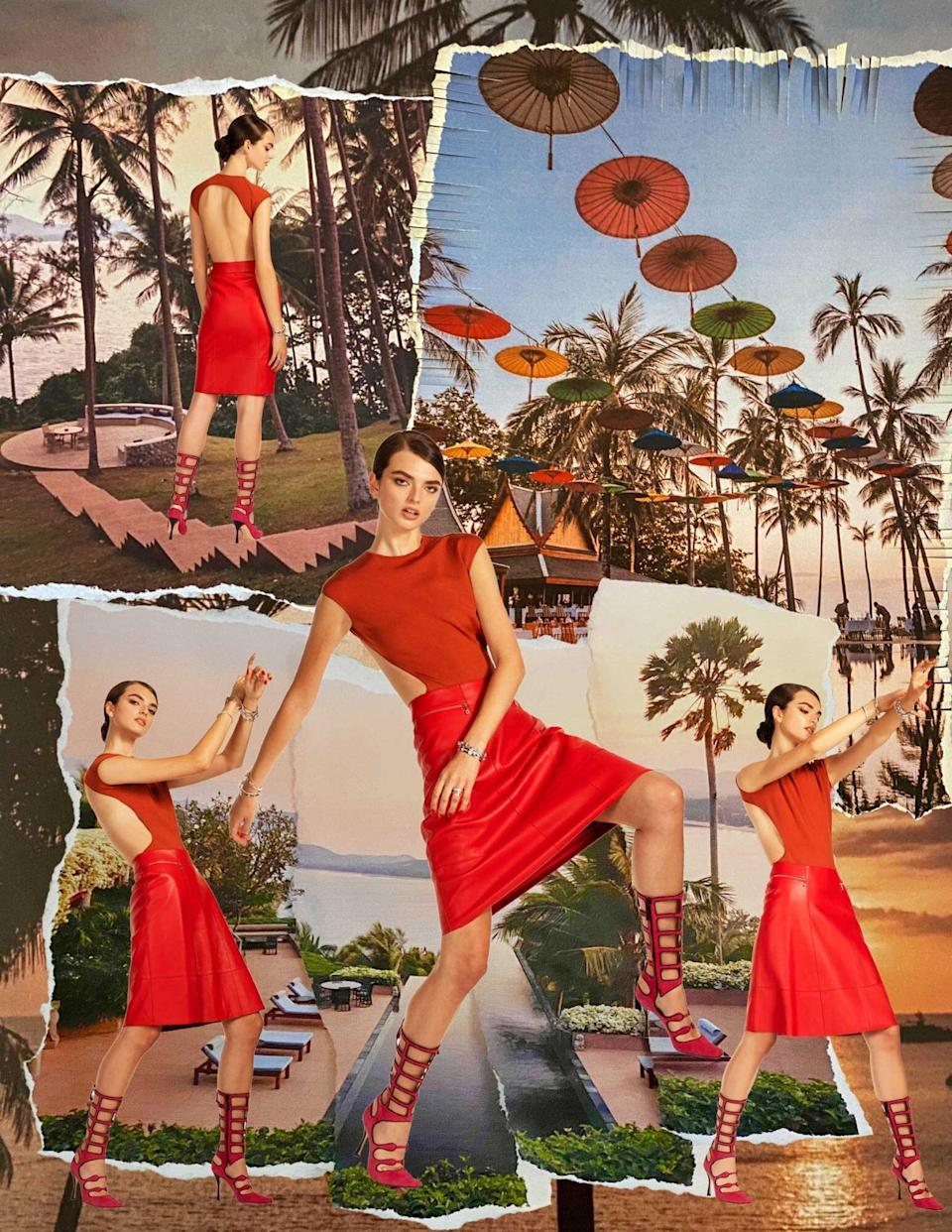 Photos of a model wearing a red cutout dress, superimposed over photos of the Amanpuri resort