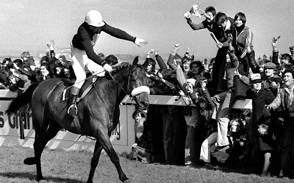 Red Rum, ridden by Tommy Stack, winning at Aintree to make National Hunt history as winner of the Grand National Steeplechase for a record third time - PA