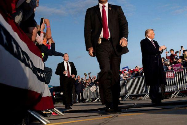 PHOTO: President Donald Trump arrives for a 'Great American Comeback' rally at Bemidji Regional Airport in Bemidji, Minn., on Sept. 18, 2020. (Brendan Smialowski/AFP via Getty Images)