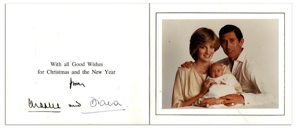 "<p>Prince Charles and Princess Diana happily <a href=""http://natedsanders.com/princess_diana___prince_charles_signed_christmas_c-lot8463.aspx"" rel=""nofollow noopener"" target=""_blank"" data-ylk=""slk:introduced their newborn"" class=""link rapid-noclick-resp"">introduced their newborn</a> son, Prince William.</p>"