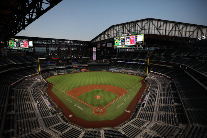 """A general view of play between the Oakland Athletics and the Texas Rangers at Globe Life Field on September 11. <span class=""""copyright"""">(Ronald Martinez / Getty Images)</span>"""