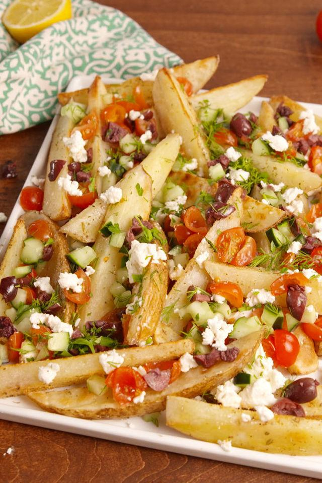 """<p>Like if potatoes had a toga party!</p><p>Get the recipe from <a rel=""""nofollow"""" href=""""http://www.delish.com/cooking/recipe-ideas/recipes/a52074/greek-potato-wedges-recipe/"""">Delish</a>.</p>"""