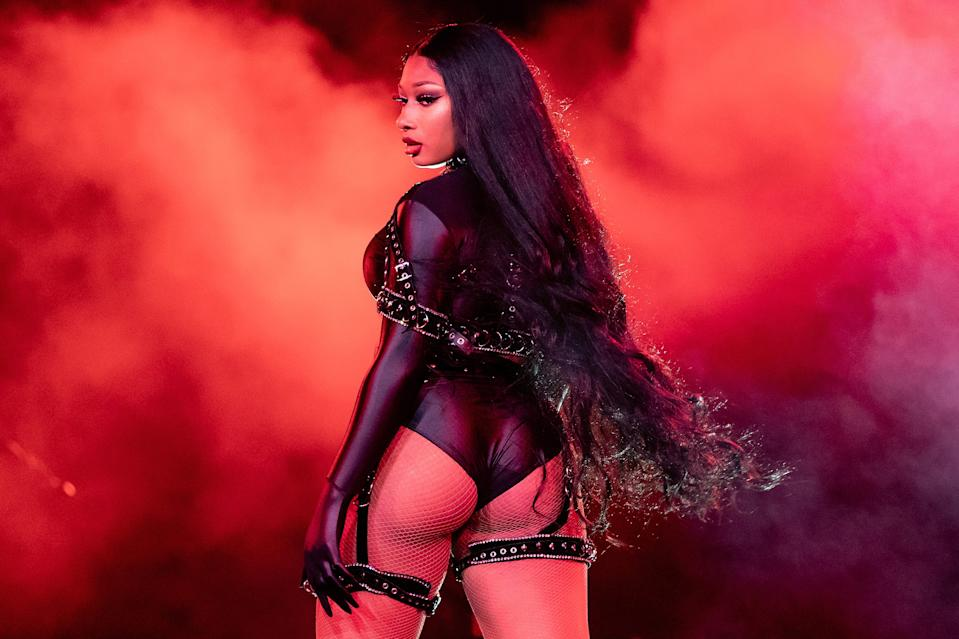 "Megan Thee Stallion performs onstage during Day 2 of ""Red Rocks Unpaused"" 3-Day Music Festival presented by Visible at Red Rocks Amphitheatre on Sept. 2, 2020, in Morrison, Colo."