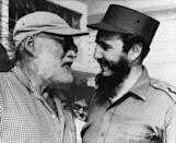 <p>Fishing friends – American author Ernest Hemingway (left) and Cuban Prime Minister Fidel Castro, who often went fishing together in Cuba, chat in Havana May 15, 1960, 14 months before Hemingway's death. Castro led a group of Americans on a tour of the home outside Havana where Hemingway spent most of his winters for 20 years, when they were in Cuba in connection with the December exchange of foods and medicine for Bay of Pigs invasion prisoners. The home has been preserved as a museum. (AP Photo) </p>