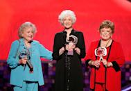 """<p>In 2008, White, Arthur, and McClanahan reunited on stage to accept the Pop Culture Award during the TV Land Awards show. McClanahan passed away about two years later, and <a href=""""https://people.com/celebrity/betty-white-rue-mcclanahans-death-hurts-more-than-i-ever-thought/"""" rel=""""nofollow noopener"""" target=""""_blank"""" data-ylk=""""slk:White said"""" class=""""link rapid-noclick-resp"""">White said</a>, """"Rue was a close and dear friend. I treasure our relationship. It hurts more than I ever thought it would, if that's even possible.""""<br></p>"""