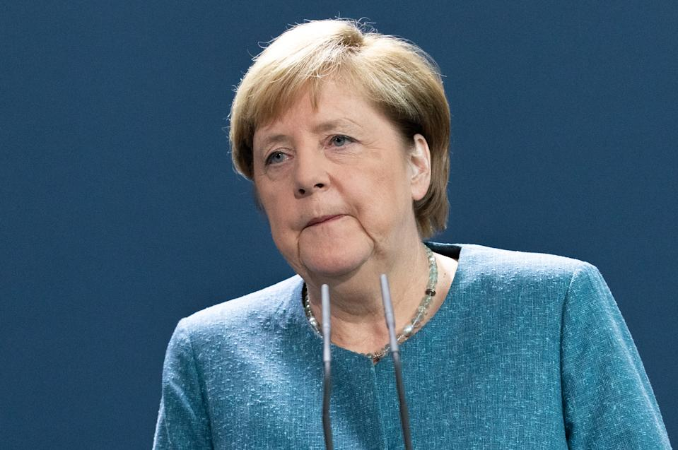 BERLIN, GERMANY - SEPTEMBER 02: German Chancellor Angela Merkel delivers a statement on the Russian opposition activist Alexei Navalny case at the Chancellery on September 2, 2020 in Berlin, Germany. The German government said 'the unequivocal proof' that Navalny was poisoned with a nerve agent from the Novichok group was established. Navalny is has been treated at the Charite hospital in Berlin since 22 August 2020. He was first placed in an hospital in Omsk, Russia, after he felt ill on board of a plane on his way from Tomsk to Moscow. The flight was interrupted and after landing in Omsk Navalny was delivered to hospital with a suspicion on a toxic poisoning.  Foreign Minister Heiko Maas said Germany had called in Russia's ambassador to demand answers on the case. (Photo by Hayoung Jeon- Pool/Getty Images)