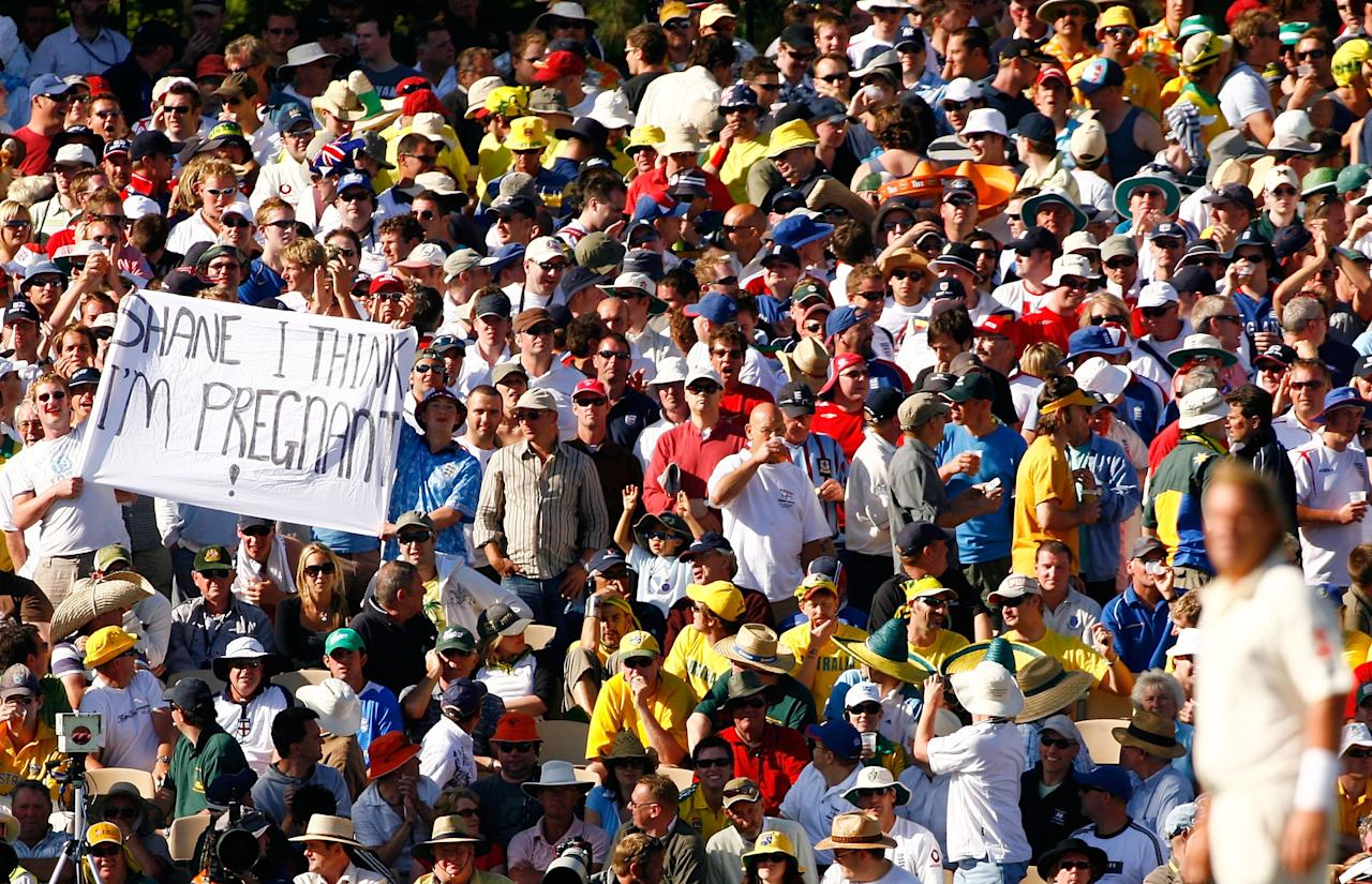 ADELAIDE, AUSTRALIA - DECEMBER 02:  Fans display a banner to Shane Warne of Australia during day two of the second Ashes Test Match between Australia and England at the Adelaide Oval on December 2, 2006 in Adelaide, Australia.  (Photo by Tom Shaw/Getty Images)