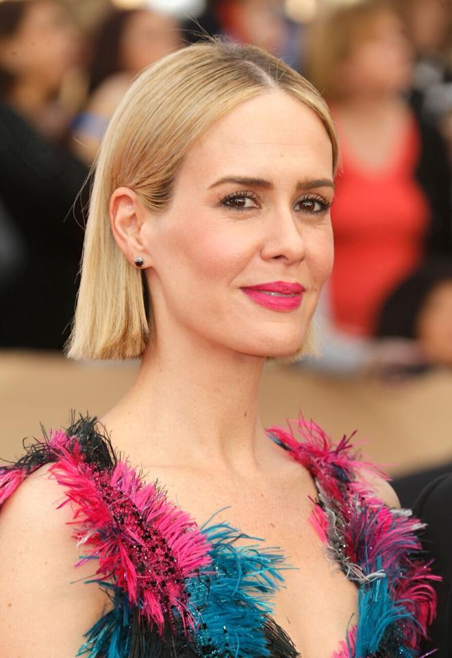 <p>The <i>American Horror Story</i> star's filled-in brows stood out against her light blonde hair. (Photo: Getty)</p>