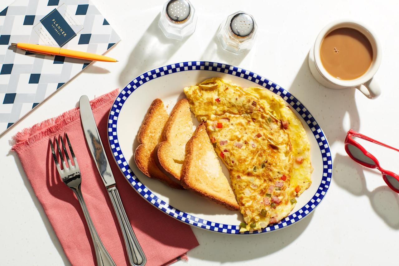"An omelet is always a good way to use up ham. This ham, bell pepper, and onion-filled diner classic is also sometimes called a ""Denver Omelet."" <a href=""https://www.epicurious.com/recipes/food/views/diner-style-western-omelet?mbid=synd_yahoo_rss"">See recipe.</a>"