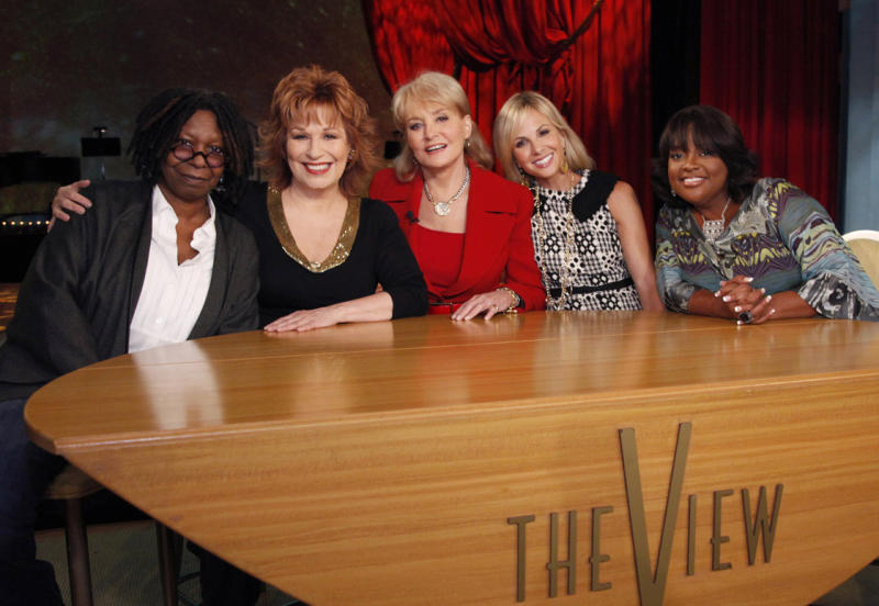 """FILE - In this Sept. 7, 2010 TV publicity file image released by ABC, from left, Whoopi Goldberg, Joy Behar, Barbara Walters, Elizabeth Hasselbeck and Sherri Shepherd pose on the set of their daytime talk show, """"The View,"""" as they launch their 14th season, in New York. Behar is leaving the ABC daytime talk show at the end of the current season in August 2013. The network said in a statement Thursday, March 7, 2013, that it wishes Behar """"all the best in this next chapter, and are thrilled that we have her for the remainder of the season."""" (AP Photo/ABC, Heidi Gutman) NO TABLOIDS. NO ARCHIVES."""