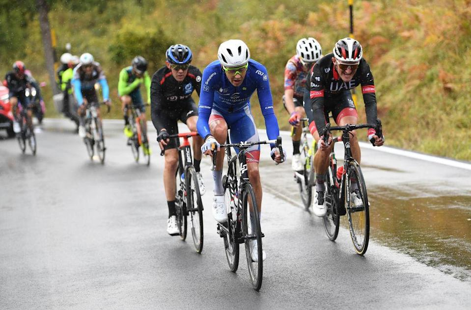 ROCCARASO ITALY  OCTOBER 11 Kilian Frankiny of Switzerland and Team Groupama  FDJ  Ben Oconnor of Australia and NTT Pro Cycling Team  Mikkel Bjerg of Denmark and UAE Team Emirates  Breakaway  during the 103rd Giro dItalia 2020 Stage 9 a 207km stage from San Salvo to Roccaraso  Aremogna 1658m  girodiitalia  Giro  on October 11 2020 in Roccaraso Italy Photo by Tim de WaeleGetty Images