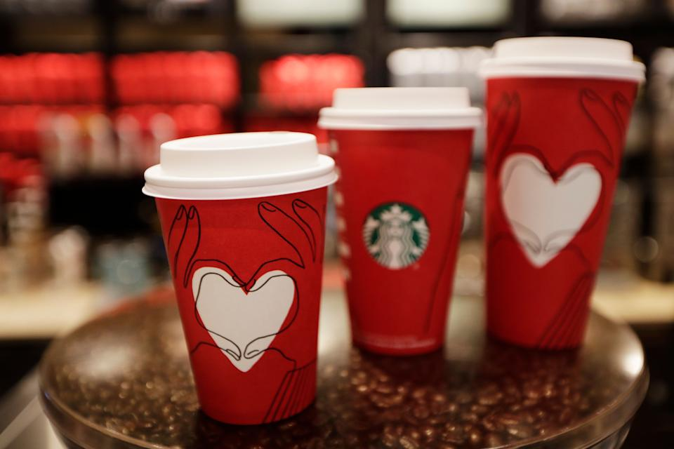 Starbucks cups with a new design at a Starbucks coffee shop in New York on Monday, Nov. 27, 2017. (AP/Hiro Komae)