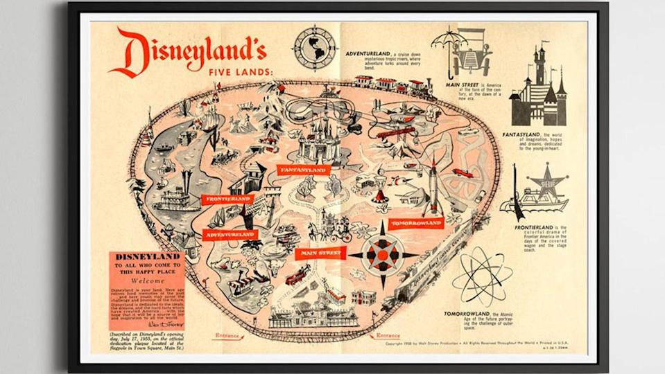 Gifts for Disney lovers: Disneyland 1958 park map poster