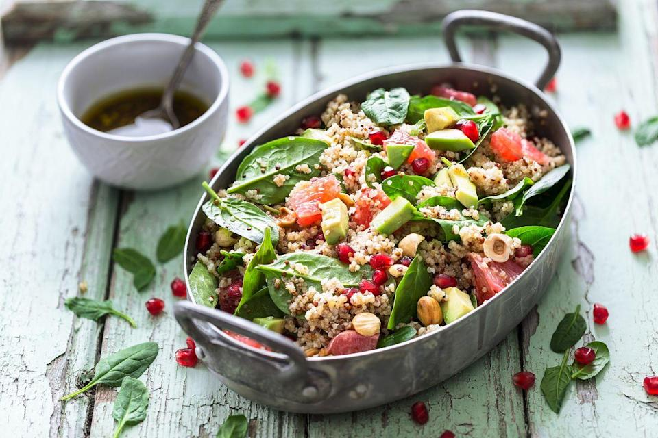 """<p><a href=""""https://www.prevention.com/food-nutrition/a20494431/one-pot-quinoa-recipes/"""" rel=""""nofollow noopener"""" target=""""_blank"""" data-ylk=""""slk:Quinoa"""" class=""""link rapid-noclick-resp"""">Quinoa</a> makes every list of superfoods for good reason: It's packed with <a href=""""https://www.prevention.com/food-nutrition/healthy-eating/g26895324/complete-protein-foods-list/"""" rel=""""nofollow noopener"""" target=""""_blank"""" data-ylk=""""slk:plant-based """"complete"""" protein"""" class=""""link rapid-noclick-resp"""">plant-based """"complete"""" protein</a>—the type that contains all nine essential amino acids your body needs. It's also solid on fiber to aid your digestion, and is practically multivitamin-heavy when it comes to nutrients like iron, magnesium, calcium, potassium, and folate. Try it as a dinner side or in place of meat in dishes like stuffed peppers. </p><p><strong>Try it: </strong><a href=""""https://www.prevention.com/food-nutrition/recipes/a20519981/quinoa-black-bean-and-avocado-salad/"""" rel=""""nofollow noopener"""" target=""""_blank"""" data-ylk=""""slk:Quinoa, Black Bean, and Avocado Salad"""" class=""""link rapid-noclick-resp"""">Quinoa, Black Bean, and Avocado Salad</a></p>"""