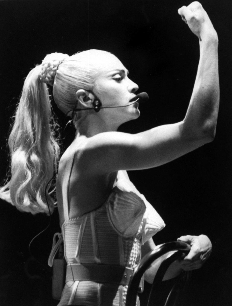 Madonna's iconic cone corset during her 'Blonde Ambition' tour [Photo: Getty]
