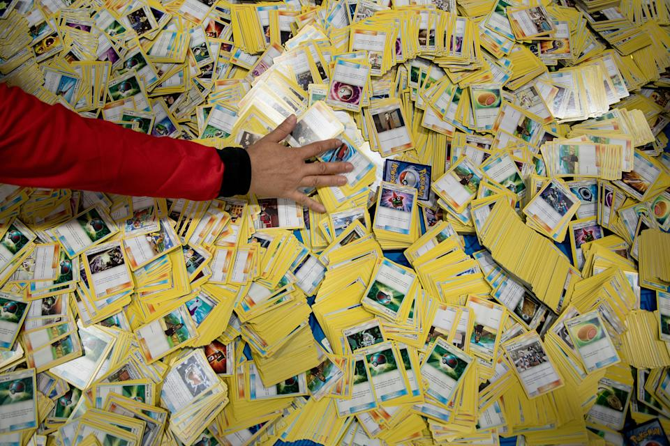 Cards are sorted for a beginners' clinic during the first day of the 2019 Pokemon World Championships at the Washington Convention Center August 16, 2019, in Washington, DC. (Photo by Brendan Smialowski / AFP)        (Photo credit should read BRENDAN SMIALOWSKI/AFP via Getty Images)