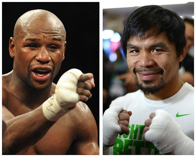 Filipino boxing icon Manny Pacquiao (R) will meet Floyd Mayweather (L) in Las Vegas on May 2, 2015 in the mega-fight their fans have long clamored for (AFP Photo/)