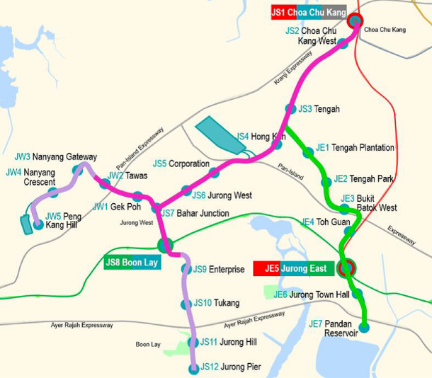 Map of the Jurong Region Line, which will be quite near the Bukit Batok BTO flats to be launched in May 2020