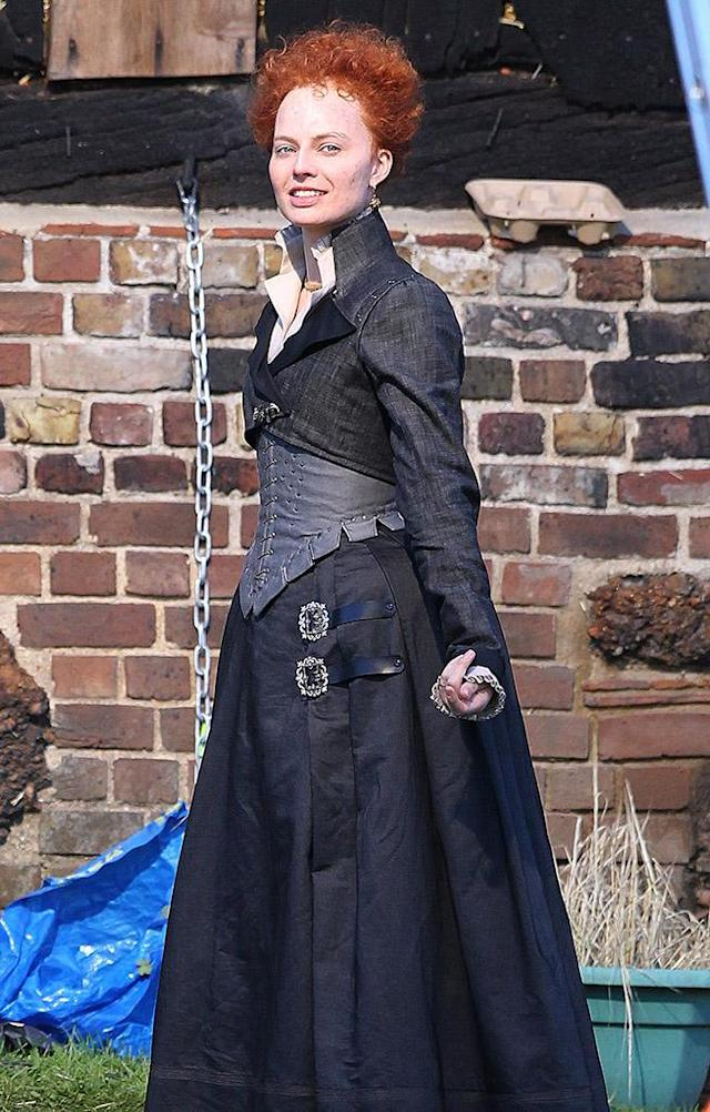 Margot Robbie as Queen Elizabeth I for <em>Mary Queen of Scots</em>. (Photo: Flynet – Splash News)