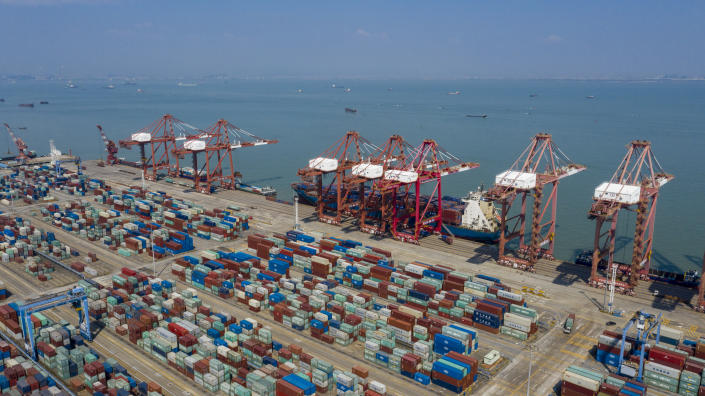 GUANGZHOU, CHINA - FEBRUARY 23: Aerial view of containers at the Port of Nansha on February 23, 2020 in Guangzhou, Guangdong Province of China. (Photo by VCG/VCG via Getty Images)