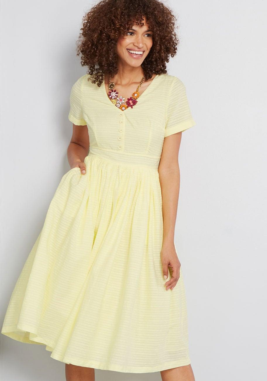 """<h3><a href=""""https://www.modcloth.com/shop/dresses/modcloth-fabulous-fit-and-flare-shirt-dress-in-yellow/163348.html"""" rel=""""nofollow noopener"""" target=""""_blank"""" data-ylk=""""slk:ModCloth Fabulous Fit and Flare Shirtdress"""" class=""""link rapid-noclick-resp"""">ModCloth Fabulous Fit and Flare Shirtdress</a></h3><br><strong><em>The Throwback</em></strong><br><br>Vintage enthusiasts, rejoice — this nostalgic frock has reviewers raving over its picture-perfect 1950s tailoring and candy-colored hue.<br><br><strong>The Hype: </strong>4 out of 5 stars; 56 reviews on ModCloth.com<br><br><strong>What They're Saying: </strong>""""I call this my Sandra Dee dress, and I feel like a fabulous lemon cupcake in it! I purchased this on a whim just to try on, and as soon as I did I knew I was keeping it. The color is the perfect springtime yellow. It's not neon, not sunshine, not mustard. It's a soft yellow, closer to pastel yellow but just a teensy bit brighter. It's a happy color, and I felt fantastic wearing it and received tons of compliments!"""" — Barbarella, ModCloth.com reviewer<br><br><strong>ModCloth</strong> Fabulous Fit and Flare Shirt Dress, $, available at <a href=""""https://go.skimresources.com/?id=30283X879131&url=https%3A%2F%2Fwww.modcloth.com%2Fshop%2Fdresses%2Fmodcloth-fabulous-fit-and-flare-shirt-dress-in-yellow%2F163348.html"""" rel=""""nofollow noopener"""" target=""""_blank"""" data-ylk=""""slk:ModCloth"""" class=""""link rapid-noclick-resp"""">ModCloth</a>"""