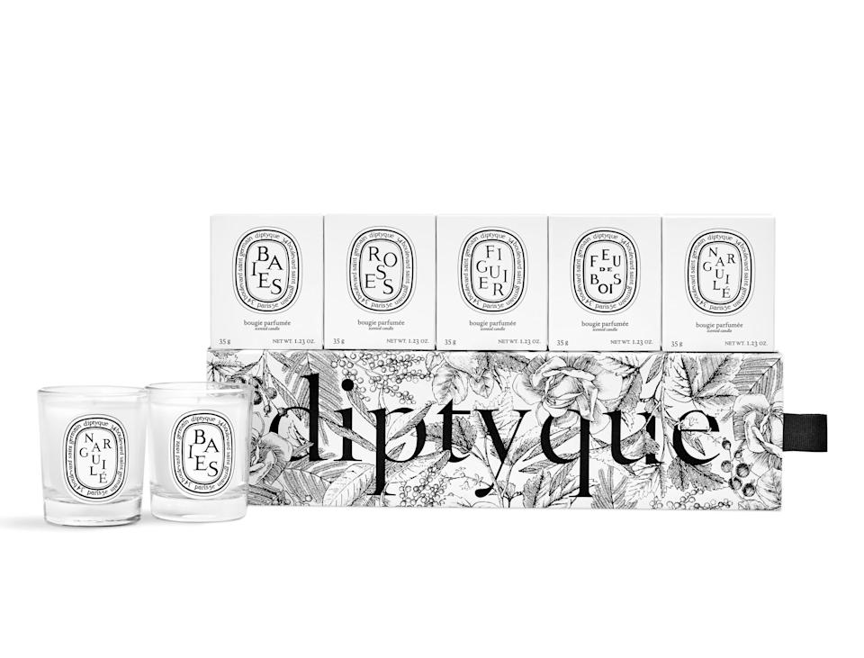 Diptyque Set of 5 Travel Size Limited Edition Scented Candles. Image via Nordstrom.