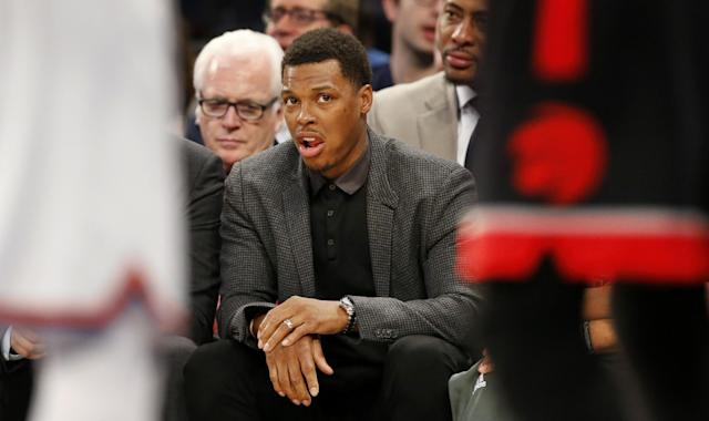 Right now, all Kyle Lowry can do is watch. The Raptors need that to change, and soon. (AP)