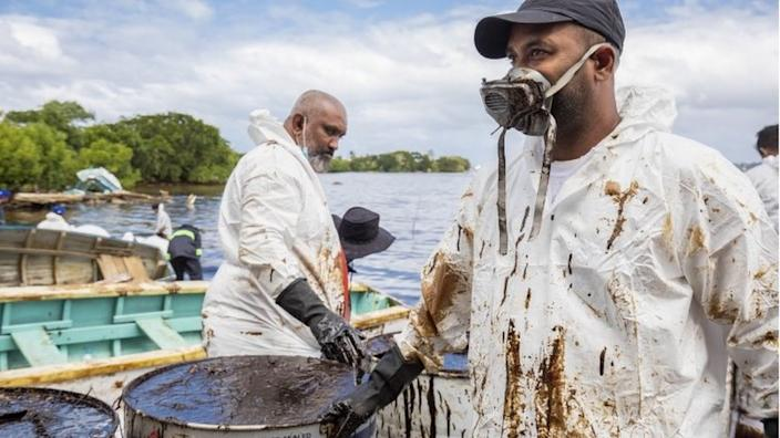 Volunteers are trying to limit the damage caused by the oil spill