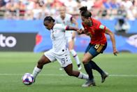 Crystal Dunn of the USA battles for possession with Vicky Losada of Spain during the 2019 FIFA Women's World Cup France Round Of 16 match between Spain and USA at Stade Auguste Delaune on June 24, 2019 in Reims, France. (Photo by Robert Cianflone/Getty Images)