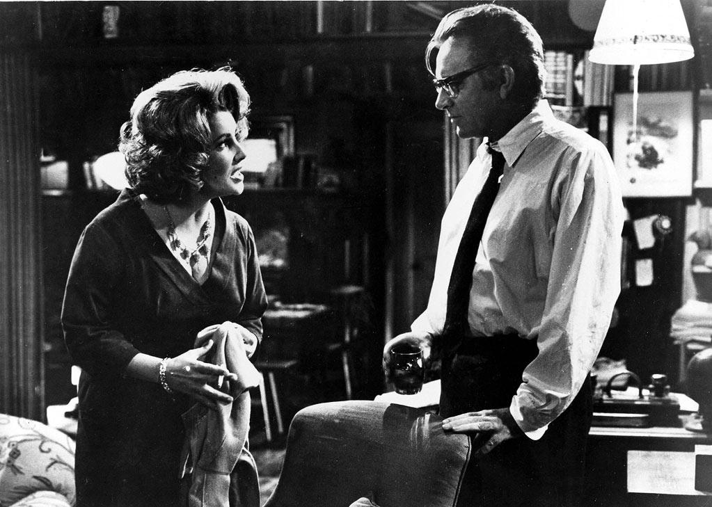 """Who's Afraid of Virginia Woolf?"" (1966): I reference this movie a lot, I realize, but this week's list would seem empty without it. It's the ultimate train wreck: Elizabeth Taylor and Richard Burton booze it up and berate each other in front a poor, unsuspecting young couple who had the misfortune of saying ""yes"" to their invitation to come over one night. Mike Nichols' adaptation of Edward Albee's play, his assured directing debut, would have had a relentless sense of claustrophobia anyway. But the fact that Burton and Taylor had such a notoriously tumultuous off-screen relationship (they were married to each other in real life — for the first time) made their on-screen barbs seem that much more severe. Nominated for 13 Academy Awards, it won five, including best actress for Taylor's scathing performance."