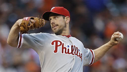 Philadelphia Phillies' Cliff Lee works against the San Francisco Giants in the first inning of a baseball game, Monday, May 6, 2013, in San Francisco. (AP Photo/Ben Margot)