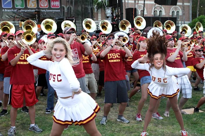 The USC Song Girls perform for the freshman class on August 20, 2011