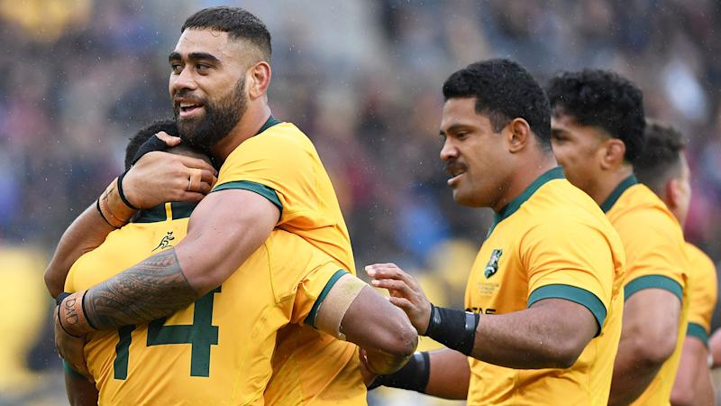 Seen here, the Wallabies celebrate a try in the first Bledisloe Cup test in 2020.