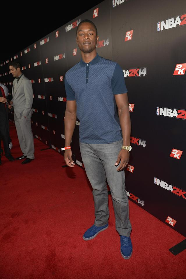 WEST HOLLYWOOD, CA - SEPTEMBER 24: Professional basketball player Harrison Barnes attends the NBA 2K14 premiere party at Greystone Manor on September 24, 2013 in West Hollywood, California. (Photo by Charley Gallay/Getty Images for 2K)