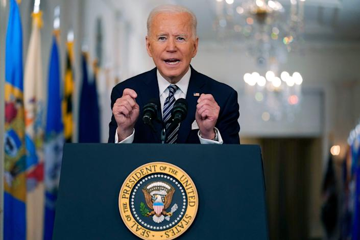 President Joe Biden speaks about the COVID-19 pandemic Thursday during a prime-time address from the White House.